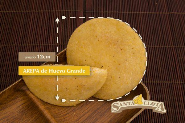 Medidas de la arepa de huevo grande